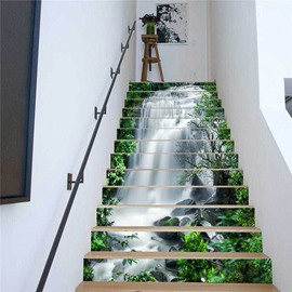 Green Trees and Waterfall 3D Stair Murals 13pcs Mould-Proof Moisture-Proof Wall Stickers Home Decorations