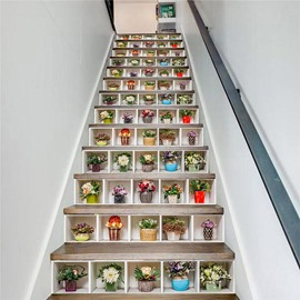 Potted Plant 3D Stair Murals 13pcs Mould-Proof Moisture-Proof Wall Stickers Home Decorations