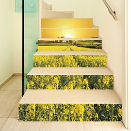 Spring Plant 3D Stair Murals 6pcs Mould-Proof Moisture-Proof Wall Stickers Home Decorations