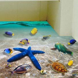 Blue Starfish Sea Turtle Tropical fish Swimming in The Sea Splicing 3D Waterproof Floor 3D Floor Murals