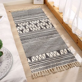 Ethnic Small Area Rug Carpets Mats Rectangle Hand Woven Fringe Modern Washable for Bedroom Doorway Bathroom Living Room Bathroom Laundry Room