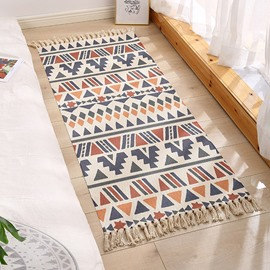 Ethnic Geometric Small Area Rug Carpets Mats Rectangle Hand Woven Fringe Modern Washable Orange Blue Mint Beige for Bedroom Doorway Bathroom Living Room Bathroom Laundry Room
