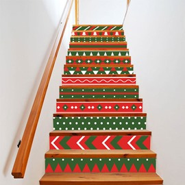 Christmas Self-Adhesive Stair Riser Decal Traditional Winter Sweets Staircase Decals Mural Decor Wallpaper