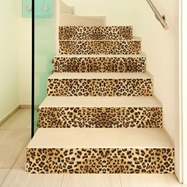 Waterproof Stair Murals Leopard 3D Stair Murals Modern Leopard Wall Stickers Wall Decorations PVC
