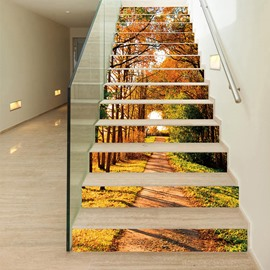 Waterproof Stair Murals Fall Autumn Tree Falling Leaves 3D Stair Murals Modern Leopard Wall Stickers Wall Decorations PVC Waterproof Stair Murals