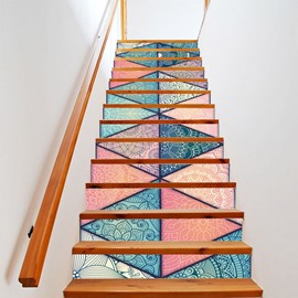 Geometric Creative 3D Stairs Stickers Personalized Corridor Steps Decorative Floor Wall Stickers 13 Pieces