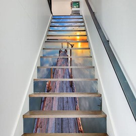 Sunset Creative 3D Stairs Stickers Personalized Corridor Steps Decorative Floor Wall Stickers 13 6 Pieces