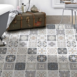 3D Anti-Slip Wear-resistant Ethnic DIY Floor Stickers Portugal Tile Decals Waterproof Removable Peel & Stick Self-Adhesive Wall Stickers for Living Room Kitchen Bathroom