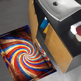 Colorful Whirl Slipping-Preventing Water-Proof Bathroom 3D Floor Sticker