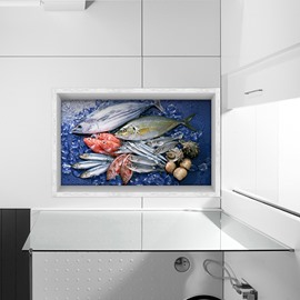 Seafish Pattern Slipping-Preventing Water-Proof Kitchen Bathroom 3D Floor Sticker