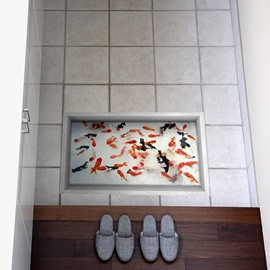 Golden and Black Fish Slipping-Preventing Water-Proof Bathroom 3D Floor Sticker