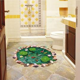 Creative Lotus Pool and Goldfish Pattern 3D Bathroom Floor Sticker
