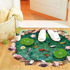 Creative Lotus Pool and Goldfish Pattern 3D Bathroom Floor Sticker