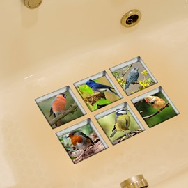 Wonderful Birds Pattern 3D Bathtub Stickers
