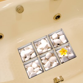 New Arrival Simple White Stone 3D Bathtub Stickers