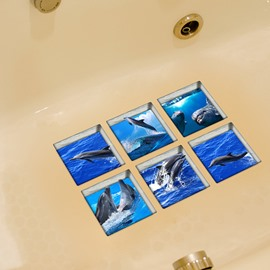 Dolphin Pattern 3D Bathtub Stickers for Bathroom Decoration