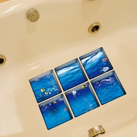Simple Sea Water and Fish Pattern 3D Bathtub Stickers
