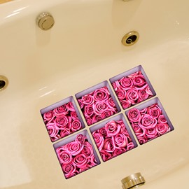 Pink Roses 3D Bathtub Stickers For Bathroom