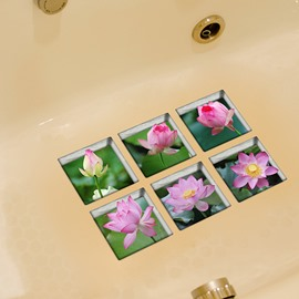 Amazing Lotus 3D Bathtub Stickers