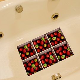 Wonderful Strawberry Pattern 3D Bathtub Stickers