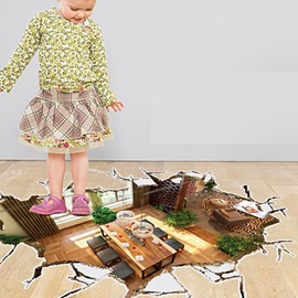 Creative Design Broken Floor Pattern 3D Wall Sticker