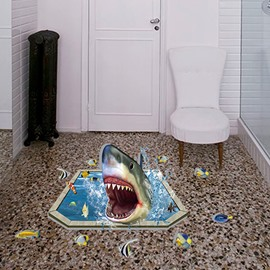 Creative Design Shark Pattern Bathroom Decoration 3D Wall Stickers