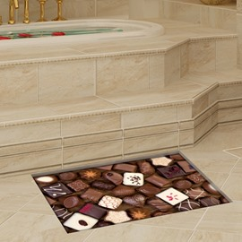 Fashion Delicious Chocolate Pattern Slipping-Preventing Water-Proof Bathroom 3D Floor Sticker
