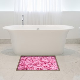 Pink Flower Petal Slipping-Preventing Water-Proof Bathroom 3D Floor Sticker