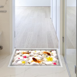 White Stone and Goldfish Slipping-Preventing Water-Proof Bathroom 3D Floor Sticker