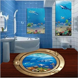 Golden Circle Surrounding Blue Sea Containing Dolphins Fishes PVC Waterproof 3D Floor Murals