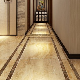Coffee Marble Pattern PVC Waterproof Eco-friendly Floor Art Tile Sticker