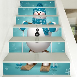 Snow Man With Scarf 3D 6-Piece PVC Waterproof Eco-friendly Self-Adhesive Stair Mural