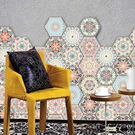 10 Pcs Hexagon Non-Slip Floor Stickers for Home Decor Peel and Stick Self-Adhesive Wall Sticker for Living Room Kitchen Bathroom Waterproof Ethnic DIY Floor Tiles