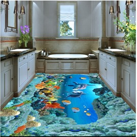 Dolphins and Corals of Ocean Waterproof Splicing 3D Floor Murals