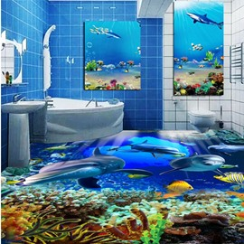 Awesome Dolphins in the Sea Painting Wallpaper Splicing Waterproof 3D Floor Murals