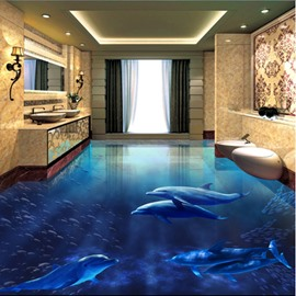 3D Blue Sea and Dolphins Printed Waterproof Sturdy and Eco-friendly Floor Murals