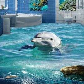 Spectacular Design Lovely Dolphin on the Surface of Sea Pattern Splicing 3D Floor Murals
