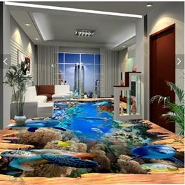 Creative Modern Design Dolphins and Turtles Pattern Waterproof 3D Floor Murals
