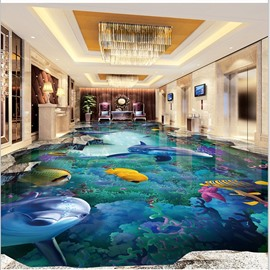 3D Dolphins and Fishes Swimming in Sea Waterproof Sturdy and Eco-friendly Floor Murals
