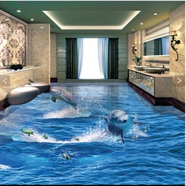 Jumping Dolphins and Turtles Splicing 3D Waterproof Floor Murals