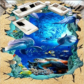 Blue Modern Design Dolphins and Turtles in a Broken Hole Waterproof 3D Floor Murals