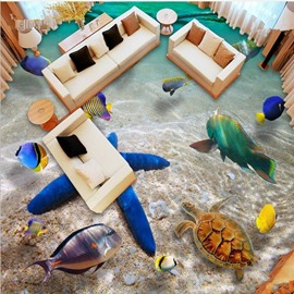 Modern Design Starfish and Tortoise under the Limpid Sea Splicing Waterproof 3D Floor Murals
