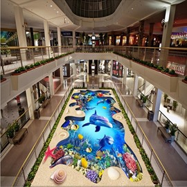 Comtemporary Dolphins and Fishes in a Broken Hole Pattern Waterproof 3D Floor Murals
