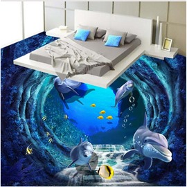 Unique Design Dolphins and Fishes in Waterfall Pattern Splicing Waterproof 3D Floor Murals