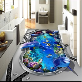 Awesome Dolphins and Fishes in Submarine Pattern Wallpaper Waterproof 3D Floor Murals
