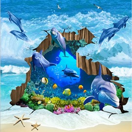 Delicate Jumping Dolphins from Ocean Home Decorative Waterproof 3D Floor Murals