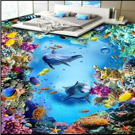 Colorful Dolphins Surrounded by Corals under Sea Waterproof 3D Floor Murals
