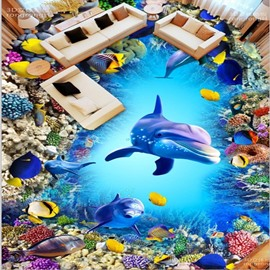 Fancy Design Dolphins and Fishes Pattern Wallpaper Splicing Waterproof 3D Floor Murals