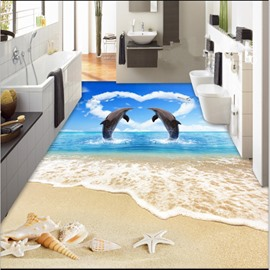 Romantic Two Dancing Dolphins in Heart Shape Cloud by the Sea Waterproof Splicing 3D Floor Murals