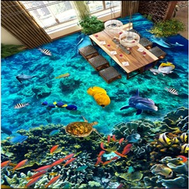 Abundant Marine Living in the Blue Sea Pattern Waterproof and Antiskid 3D Floor Murals